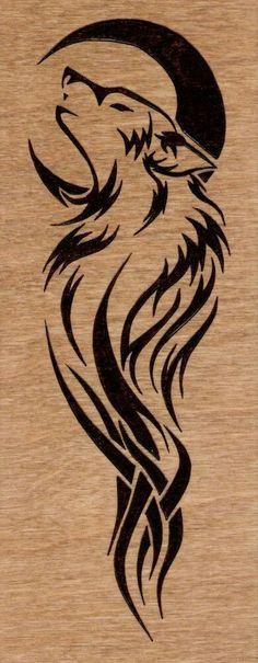 #wolf #moon #tattoo #tribal