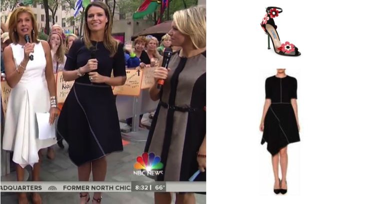 Savannah Guthrie's Black Asymmetrical Dress & Floral Sandals on #Today http://www.bigblondehair.com/savannah-guthries-asymmetrical-black-dress-and-floral-sandals/ #TodayShow