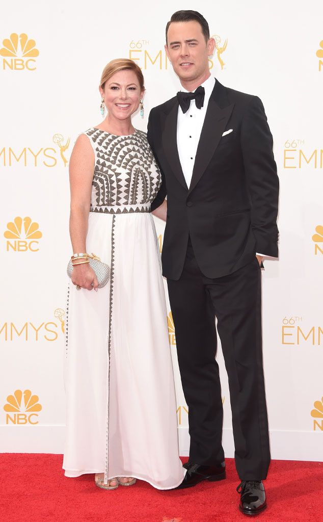 Samantha Bryant & Colin Hanks from 2014 Emmys: Red Carpet Couples | E! Online - Get the look in our Erik Lawrence Classic Black Peak http://www.sarnoandson.com/Tuxedos/Classic-1-Button-Peak-by-Erik-Lawrence-626.aspx