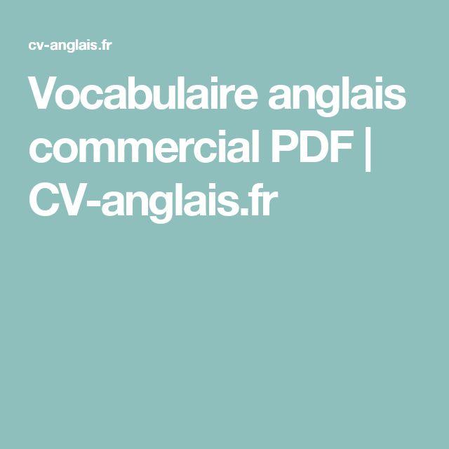 Vocabulaire anglais commercial PDF | CV-anglais.fr