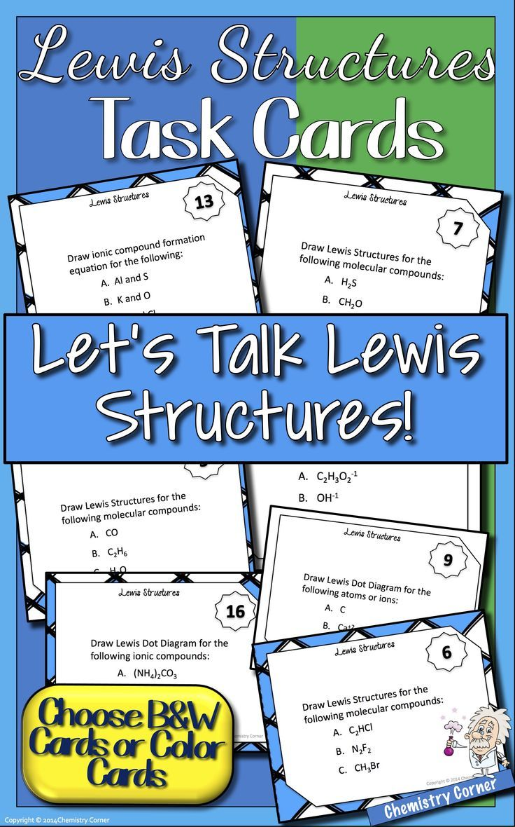 Lewis Dot Structure Task Cards Chemistry Lesson Plans Task