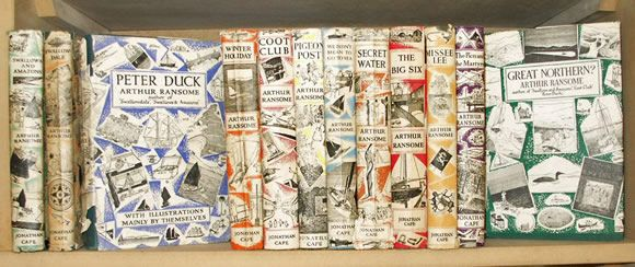 """Books by Arthur Ransome. """"BETTER DROWNED THAN DUFFERS IF NOT DUFFERS WONT DROWN"""""""
