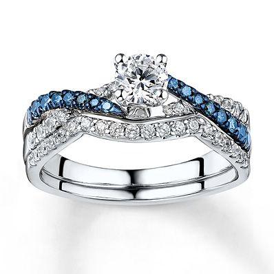 kay jewelers bluewhite diamond set 78 ct tw round cut 14k dream engagement ringsfriend - Kay Jewelers Wedding Rings Sets