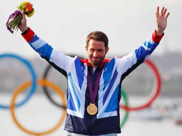 Ben Ainslie celebrates his fourth Olympic gold medal in the Finn Class Sailing