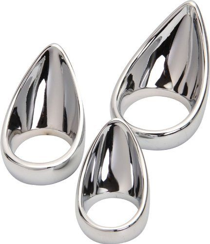 Stainless Steel Teardrop Cock Ring Deluxe Penis Ring Large Size. Color: silver. Versatile Tear Drop Cock Ring. So when fucking, you will feel the Teardrop Cock Ring grind your balls into your partner with each stroke.-With the tongue pointing outward and above, hold your hard shaft against the ring during insertion and gently ease the tip into the hole with your cock to stretch your partner out with the base of each stroke. (2.0in) Size. The Teardrop Cock Ring can be worn in several...
