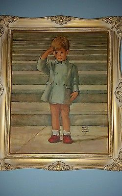"Rare JFK JR Watercolors framed in Antique white washed wooded frame 24.5"" x 20"""