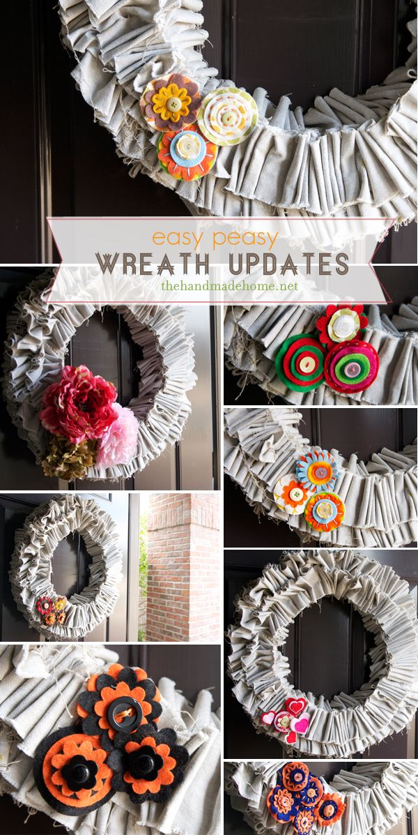seasonal wreath tutorial. make the base with fabric and switch out embellishments