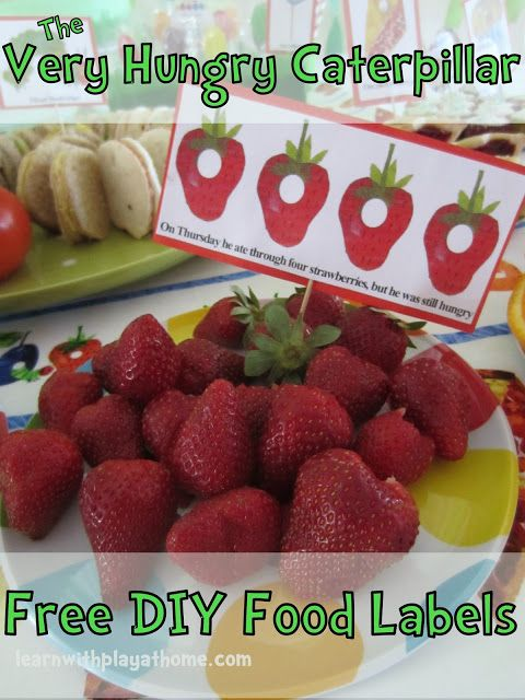 free printable Very Hungry Caterpillar food labels (although I ended up just handwriting my own with photos from the book)