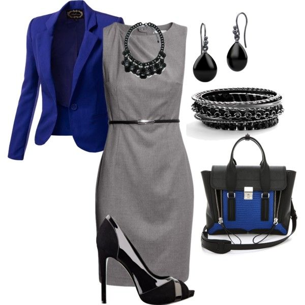 Classic grey sheath dress, silver and black shoes and jewlery with a royal blue blazer and purse
