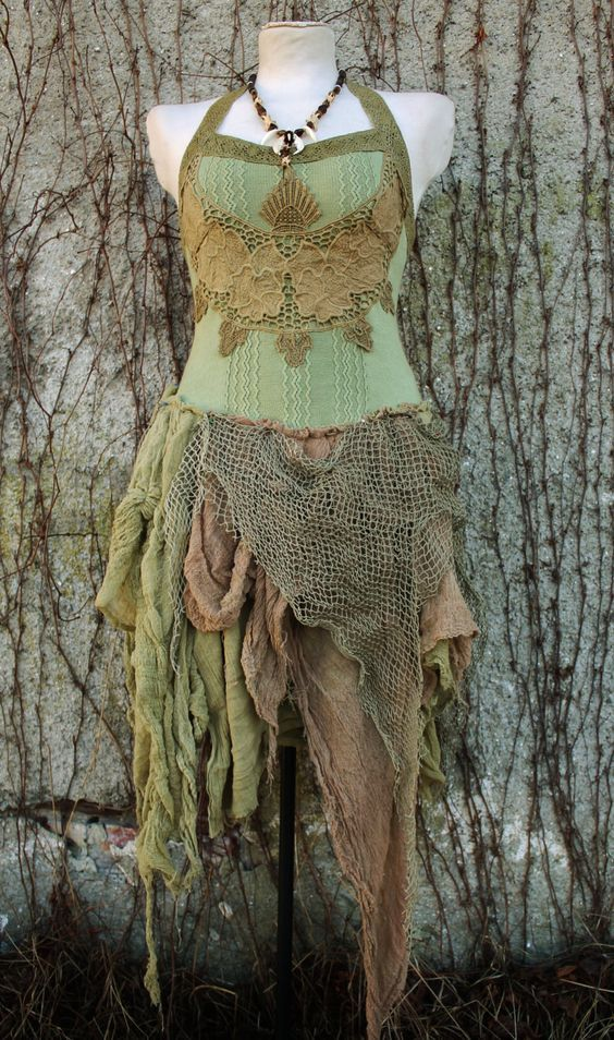 Victorian Forest - corset tutu dress in olive green knitted cotton , gauze and fishnet  boho gypsy pixie elf style. €211.00, via Etsy.: