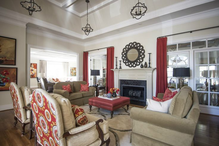 Red is installed as a loud accent in this Nashville remodel by Beth Haley Design.