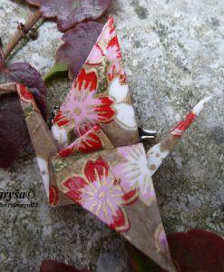 Golden and flowered rowan, origami brooche.