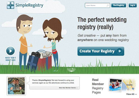 SimpleRegistry: Get everything you need — not just that blender— using SimpleRegistry. This site allows you to curate products around the web (local restaurants included) into one spot. It really allows you to think outside the box and get exactly what you want come your wedding day.