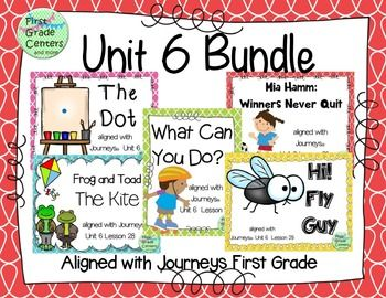This bundle contains 5 weeks of lessons aligned with your Journeys First Grade Unit 6 curriculum.