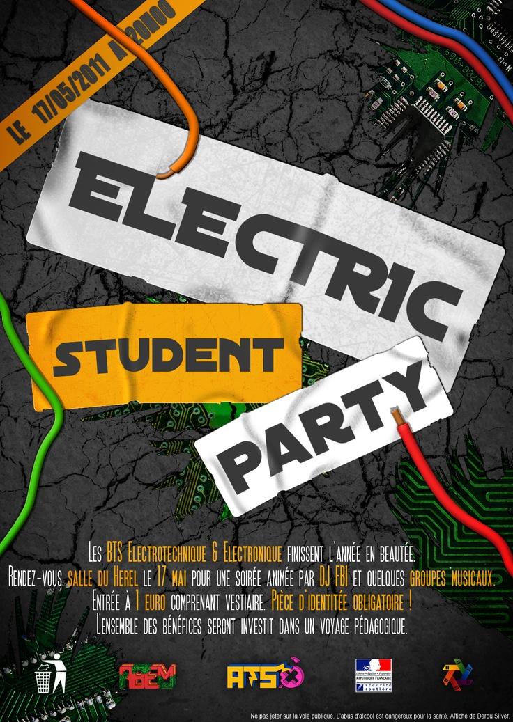 Affiche soirée étudiante Electrotechnique/Electronique : Electric Student Party - Photoshop