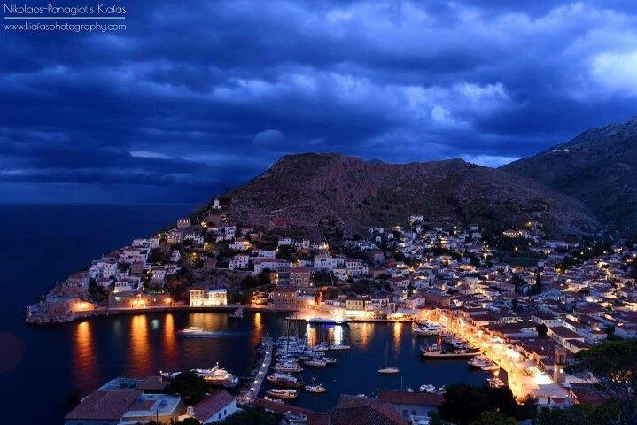 Hydra Island by night...