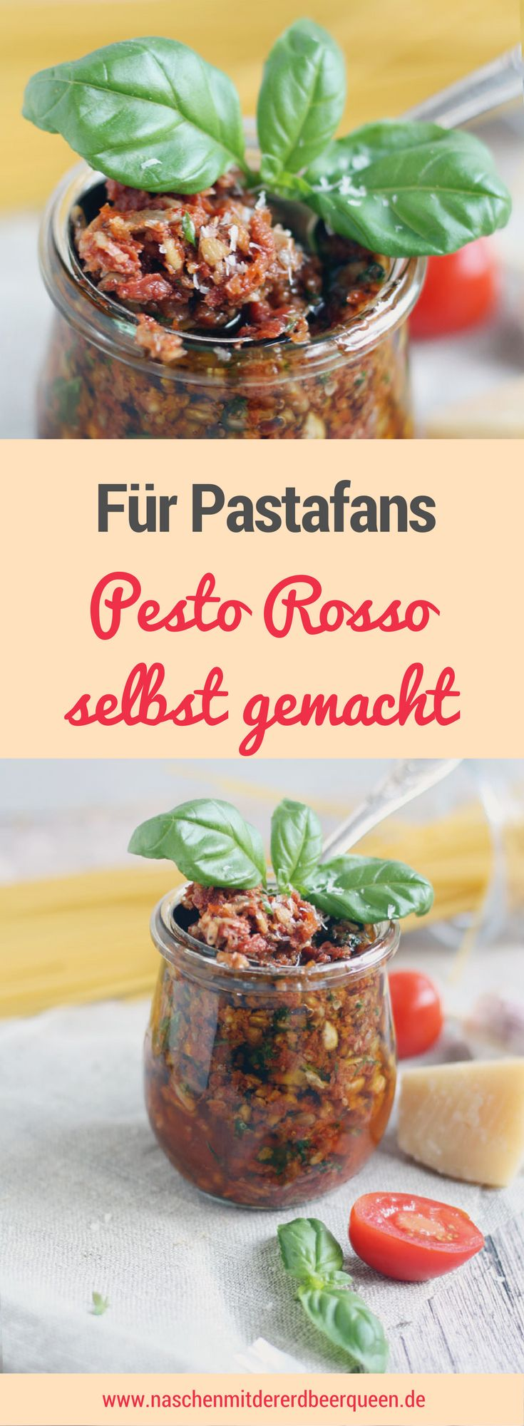 Pesto Rosso Rezept mit Sonnenblumenkernen Basilikum und Thymian - Pastarezepte mit Pesto