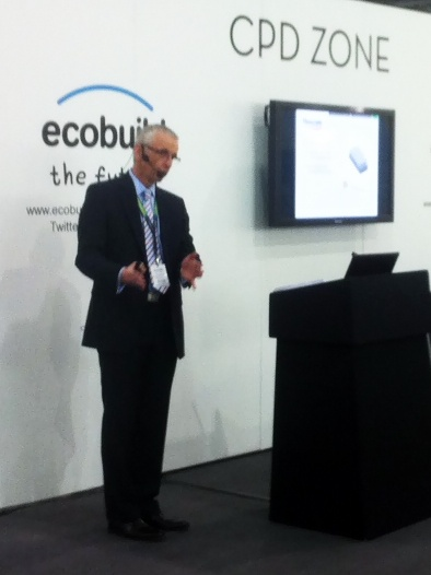 Flowcrete UK's Stephen King delivering 'How to Avoid Screed Failures' CPD at Ecobuild 2013