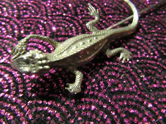 Vintage Large Lizard Silver Metal Hat Pin Great Statement