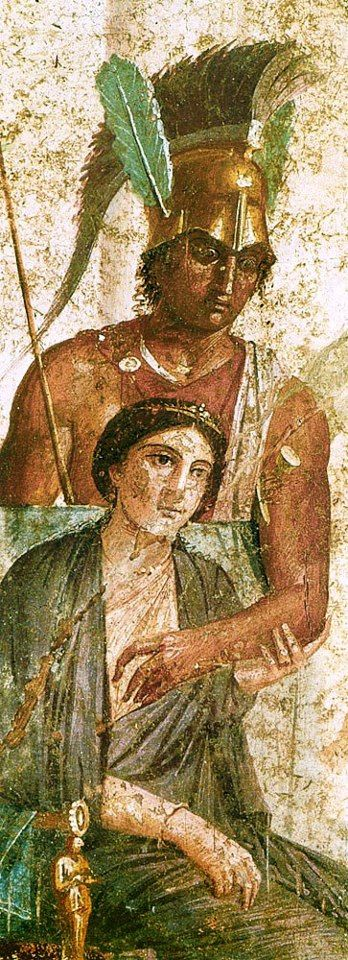 *POMPEII, ITALY ~ wall painting of Ares and Aphrodite - found Pompeii, at the Archeological Museum, Napoli