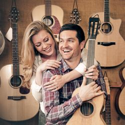 Cute engagement sitting for LA couple marrying in Colorado featuring guitars and the Colorado mountains.