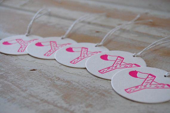 Slingshot Neon Pink Letterpress Gift Tags  set of by LittlePeachCo, $10.00