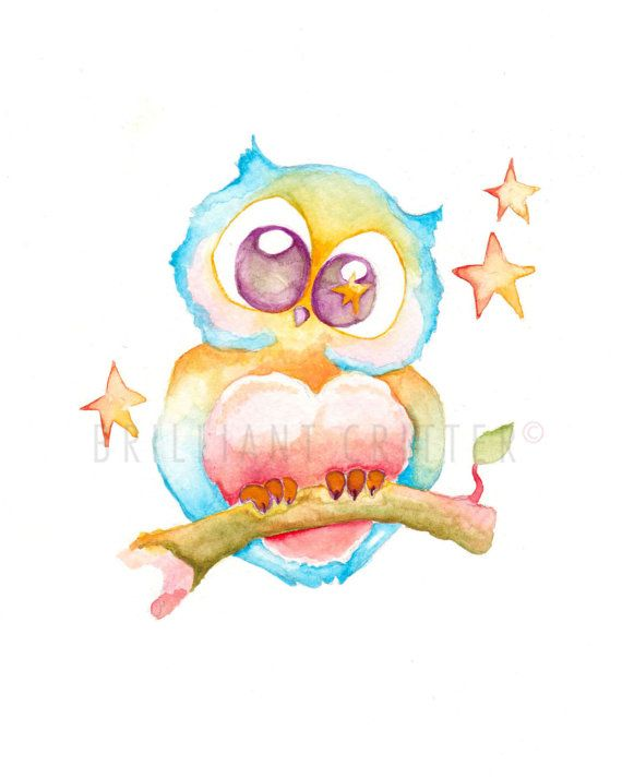 ARCHIMEDES THE OWL : Archival Watercolor Print    AVAILABLE PRINT SIZES ( Vertical Format )  11 x 14 in  8 x 10 in  8 x 8 in  5 x 7 in
