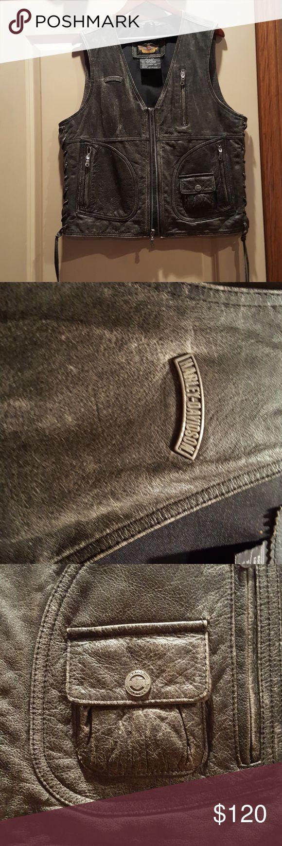 Harley Davidson leather vest. Mens. Genuine Harley Davidson merchandise.  Beautiful genuine leather, vintage look. Inside zippered pocket, as well as exterior pockets as pictured.  Mens. Harley-Davidson Jackets & Coats Vests