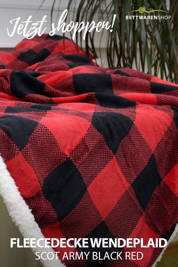 Fleecedecke Wendeplaid Scot Army Black Red In Flauschigem