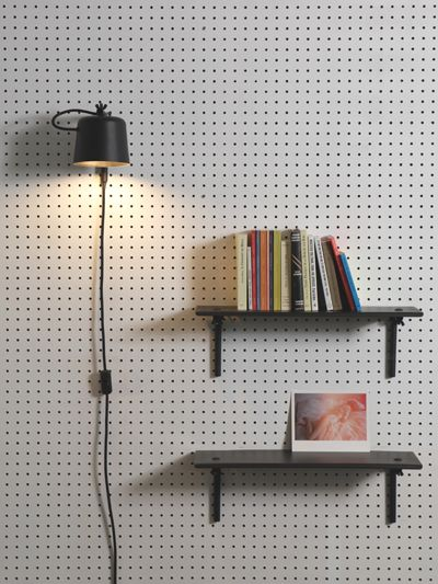 Clamp lamp or something of the sort for pegboard headboards