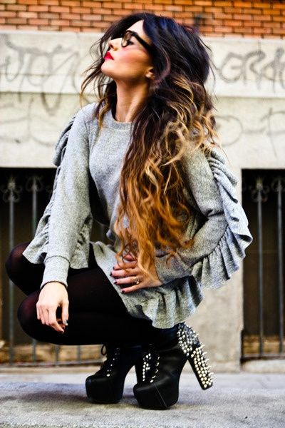 I love her hair, make up, Jeffery Campbell shoes and that sweater!!!