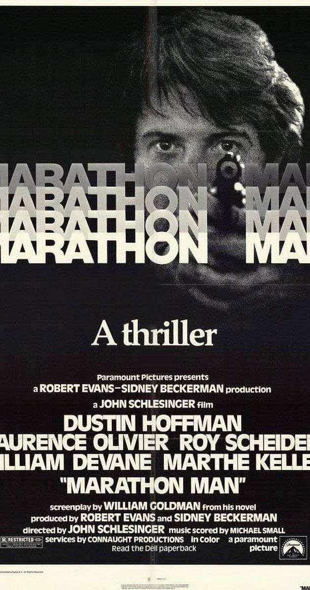 Directed by John Schlesinger.  With Dustin Hoffman, Laurence Olivier, Roy Scheider, William Devane. A graduate history student is unwittingly caught in the middle of an international conspiracy involving stolen diamonds, an exiled Nazi war criminal, and a rogue government agent.