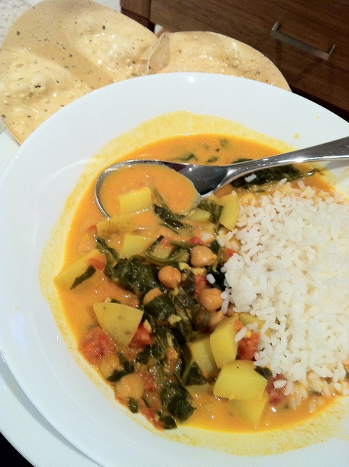 Spinach Chick Pea Coconut Curry