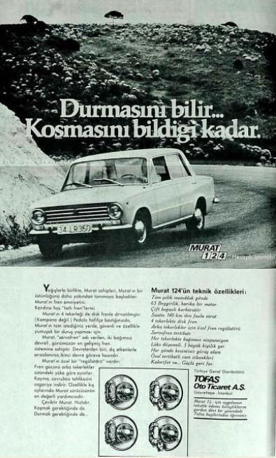 """Eski bir reklam: """"Durmasını bilir.. Koşmasını bildiği kadar. MURAT 124""""   (1971)  #eskireklamlar #birzamanlar #istanlook"""