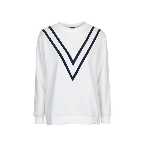 TopShop Sporty Colour Block Sweatshirt ($40) ❤ liked on Polyvore featuring tops, hoodies, sweatshirts, cream, chevron top, cream top, color block top, colorblock top and topshop tops