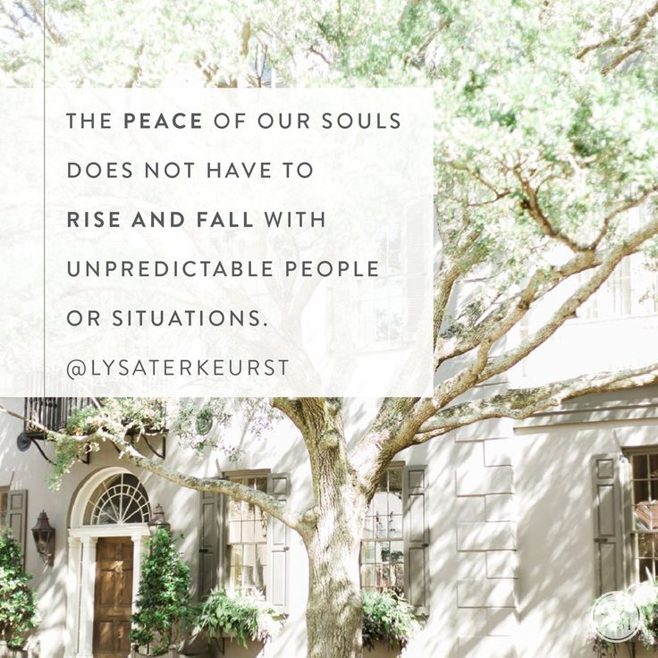 """The peace of our souls does not have to rise and fall with unpredictable people or situations."" - Lysa TerKeurst (@LysaTerKeurst) 