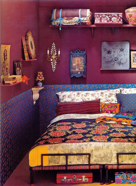 Bohemian bedroom. Love this aubergine color.