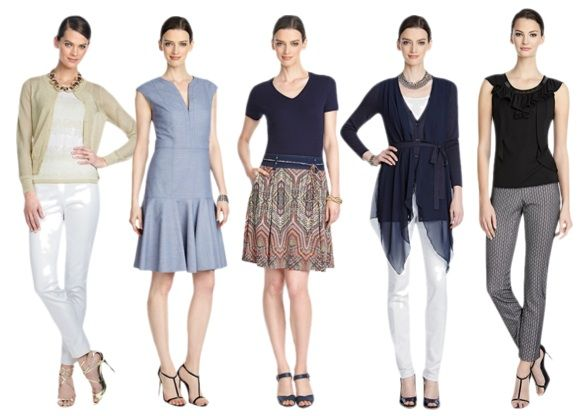 Inverted Triangle Look for: Tops with banding or nipping at the waist, wrap-style tops, narrow V-necks, deep V-necks and scoop necks, wrap style tops, tailored shirts, sleeveless tops, high set-in sleeves, raglan, dolman, peplums.