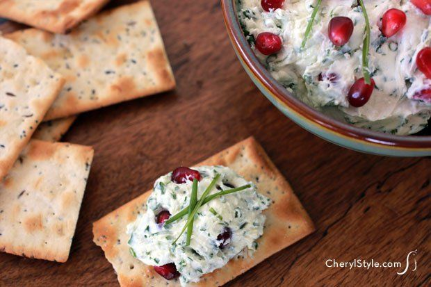 Goat cheese pomegranate dip with fresh herbs: ten minute appetizer. #pomegranates #recipe #appetizers