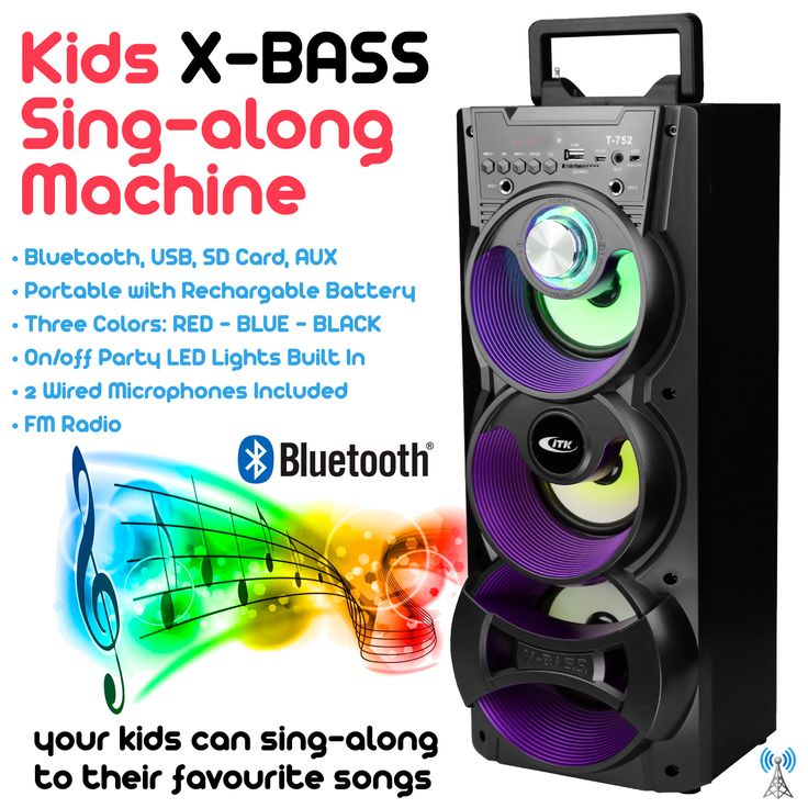 X-Bass Kids Sing-Along Machine, Black Edition, Bluetooth, SD Card, USB, FM Radio, Rechargeable Battery.