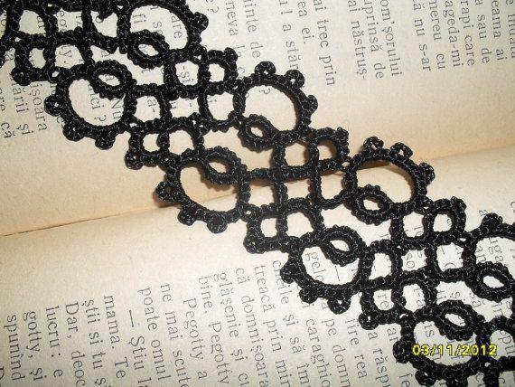 Tatting Frivolite  Bracelet  Tatted Black Lace by carmentatting, $12.00