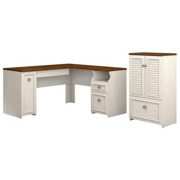 Copper Grove Khashuri L Shaped Desk And Storage Cabinet With Drawer In Antique White And Tea Maple In 2020 Storage Cabinet With Drawers Home Office Design L Shaped Executive Desk