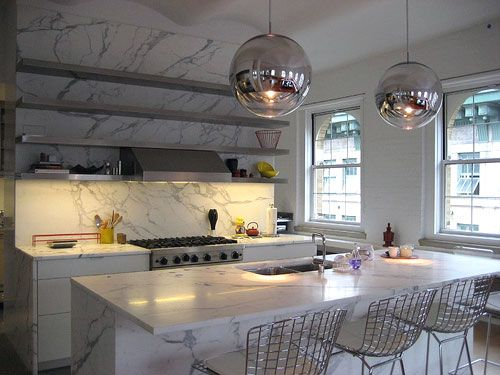 White Marble Kitchen Table For Modern Kitchen