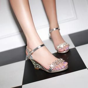 Crystal Gold Thin Strap Gold Metal Wedges Sandals