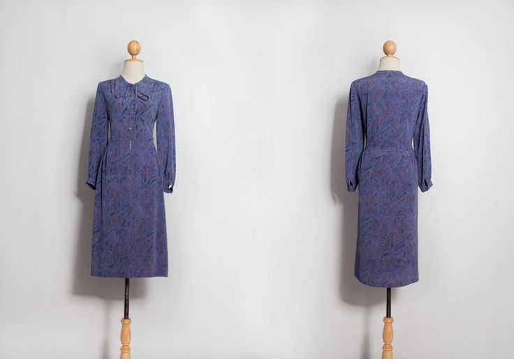 Vintage dress   60s 70s 80s dresses   Print dress   Japanese dress   Pussy bow dress   Retro dress   Sun dress   Evening dress   Midi Dress by VintageCosmopolitan on Etsy