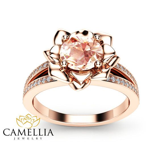 Morganit Blume Verlobungsring 14K Rose Gold von CamelliaJewelry
