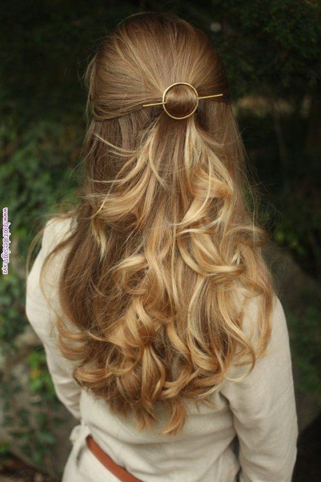 Open Circle Hair Slide Silver Hair Clip Hammered Brass Hair Barrette