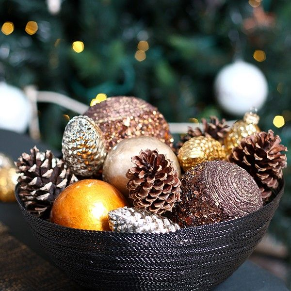 Pewter Capiz Decor Ball in Mixed Metals Christmas