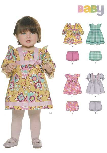 17a8a8daf80c UNCUT New Look 6316 Baby Girl Dress and Panties Sewing Pattern; Dresses are  lined and have sleeve and trim variations. Panties pattern included.