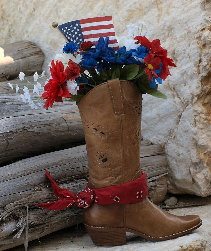 Country Western Cowboy Boot Silk Floral Red White Blue Neat Things 4th Of July Decorations